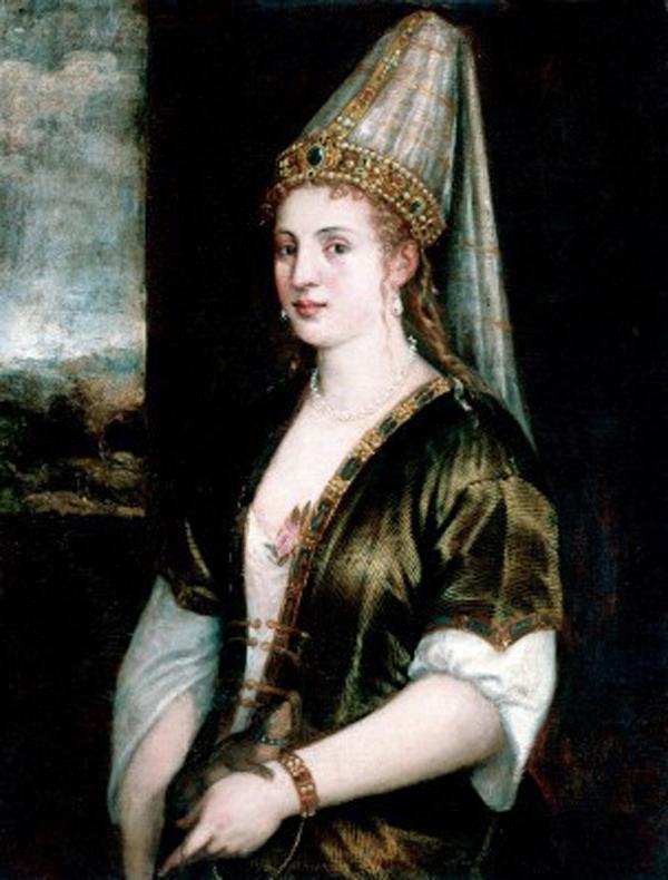 Портрет Роксолани «La Sultana Rossa», художник Тиціан, 1550-ті