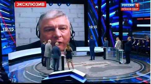 Євген Червоненко на російському телеканалі. Фото: Фейсбук.