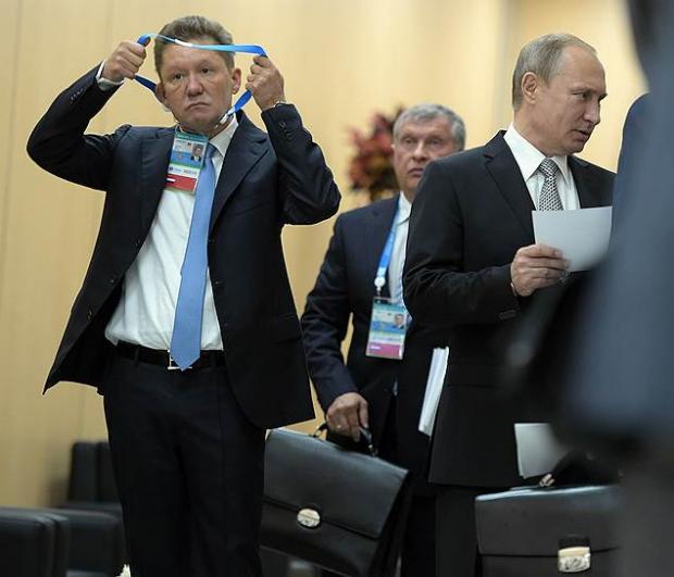 """Голова """"Газпрому"""" Олексій Міллер і Путін. Ілюстрація:Коммерсант"""