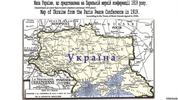 Репродукція мапи України, яку використовували на Паризькій мирній конференції у 1919 році, й на якій Крим позначений як територія України