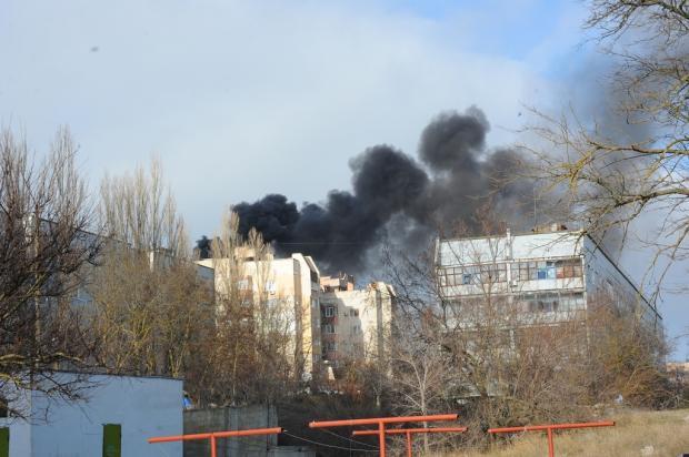 Пожежа у Щолкіному. Фото: соцмережі.