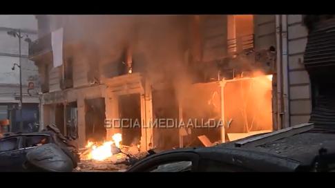 На місці вибуху у Парижі. Фото: скріншот з відео.
