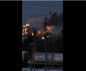 Пожежа на заводі у Іркутську. Фото: скріншот з відео.