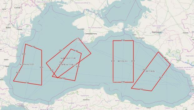 Перекриті Росією райони Чорного моря за міжнародним приписом 0817/2019