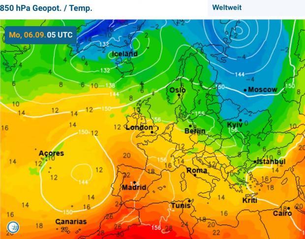 Фото: Карта нічної температури 6 вересня (facebook.com/tala.didenko)